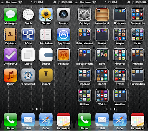 Screenshot of Current Home Screens